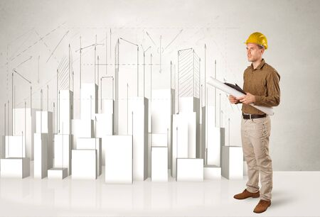 Construction worker planing with 3d buildings in background concept photo