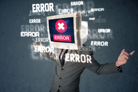 computer support: Business man with pc monitor on his head and error messages darker background