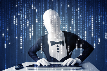 decoding: Hacker decoding information from futuristic network technology with white symbols