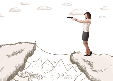 bridging: Businesswoman standing on the hand drawn edge of mountain