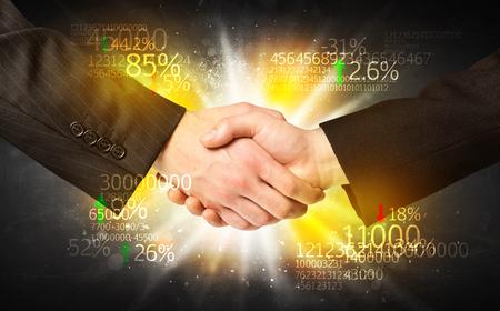 business handshake: Business Handshake with number analysis Stock Photo