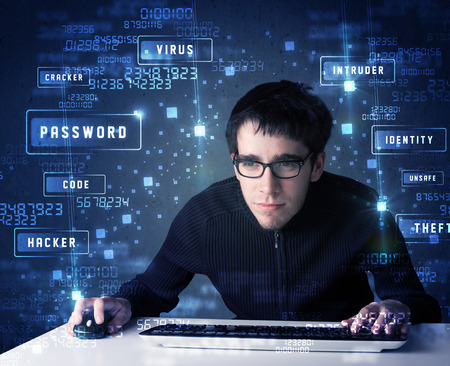 programing: Hacker programing in technology enviroment with cyber icons and symbols