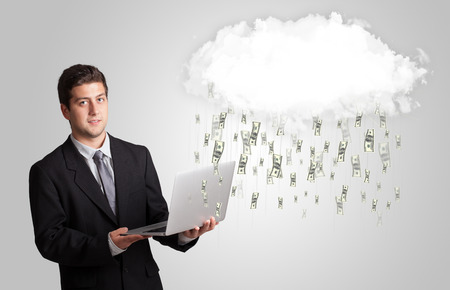 money rain: Man with white cloud and money rain concept Stock Photo