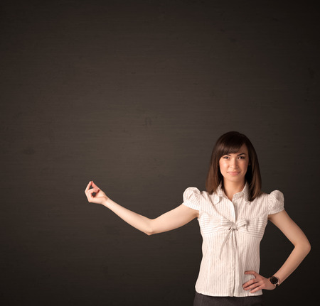 creative force: Businesswoman making gestures with her arms