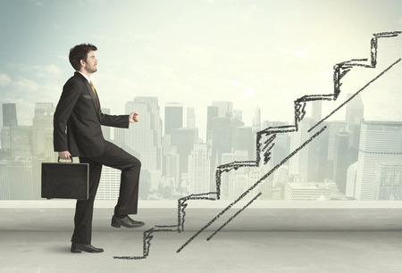 leadership development: Business man climbing up on hand drawn staircase concept on city