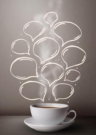 Coffee mug with hand drawn speech bubbles, close up photo