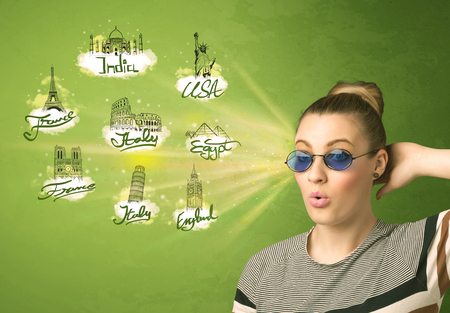 Happy young girl with sunglasses traveling to cities around the world concept photo