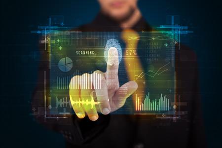 hand print: Businessman pressing modern technology panel with finger print reader
