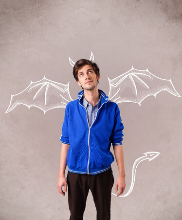 nasty: Young nasty man with devil horns and wings drawing