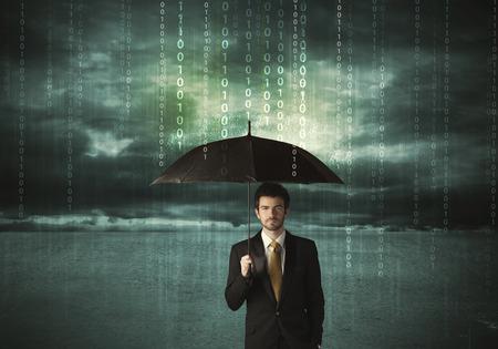 lluvia paraguas: Hombre de negocios de pie con paraguas concepto de protección de datos en el fondo