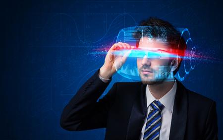 tech: Man with future high tech smart glasses concept