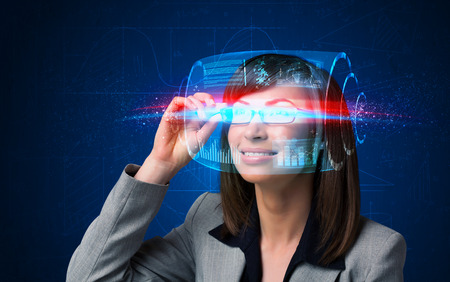 Woman with high tech smart glasses concept Stock Photo