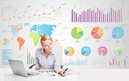 charts graphs: Business woman with colorful charts graphs Stock Photo