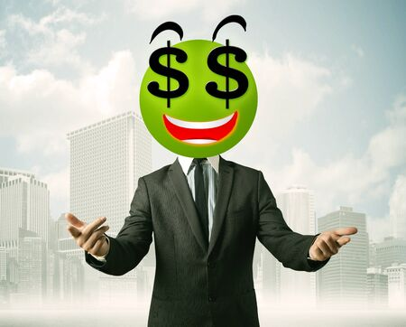 Businessman with dollar sign smiley face photo