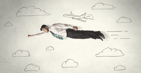 hyper: Cheerful business person flying between hand drawn sky clouds concept on background