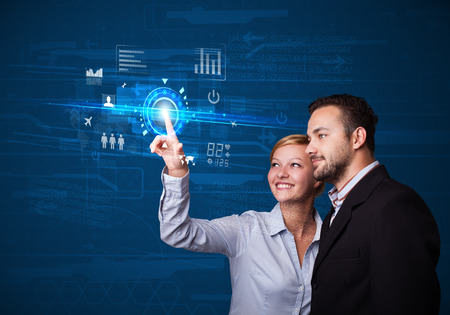 web technology: Business couple touching future web technology buttons and icons