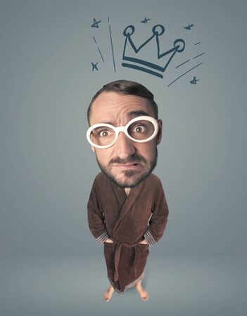 exaggeration: Funny guy with big head and drawn crown over it