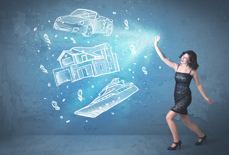 Rich person throwing hand drawn car yacht and house concept photo
