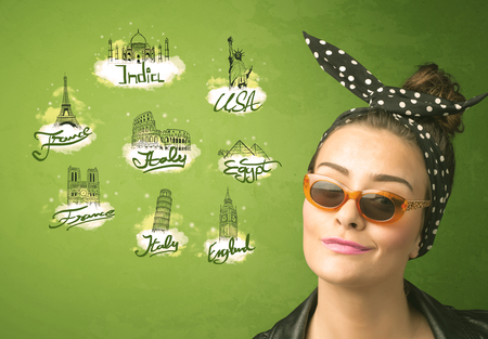 adult cruise: Happy young girl with sunglasses traveling to cities around the world concept