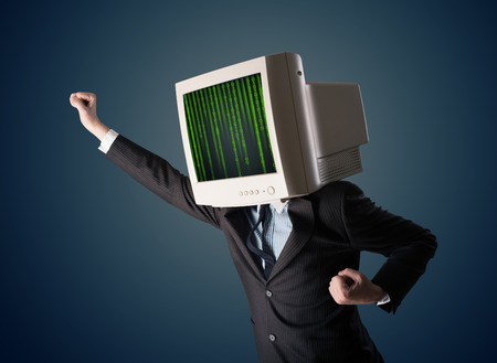 cyber business: Cyber business human with a monitor screen and computer code on the display