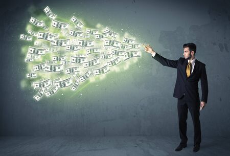 cash icon: Business person throwing a lot of dollar bills concept on background