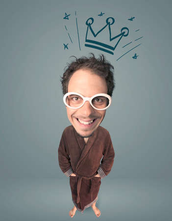 merriment: Funny guy with big head and drawn crown over it