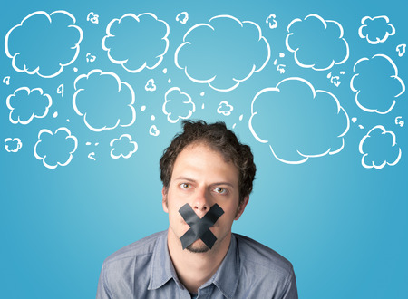 sellotape: Funny person with taped mouth and hand drawn clouds around head Stock Photo