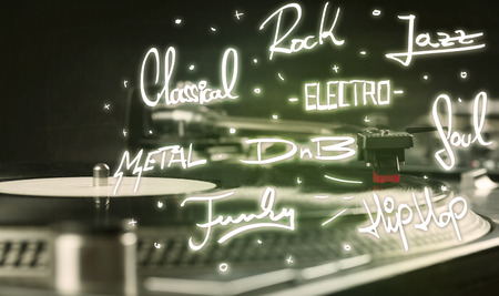 genres: Turntable with vinyl and music genres writen concept on background