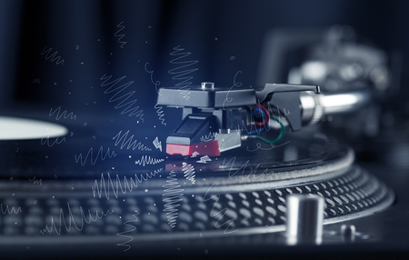 audiophile: Turntable playing music with hand drawn cross lines concept on background