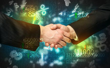 Handshake business: Handshake with number analysis Stock Photo