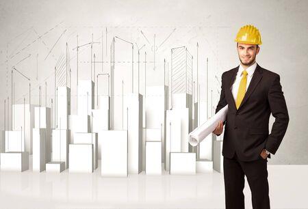 ouvrier: Travailleur de la construction de rabotage avec des bâtiments en 3D, fond, concept