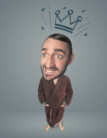 funny guy: Funny guy with big head and drawn crown over it
