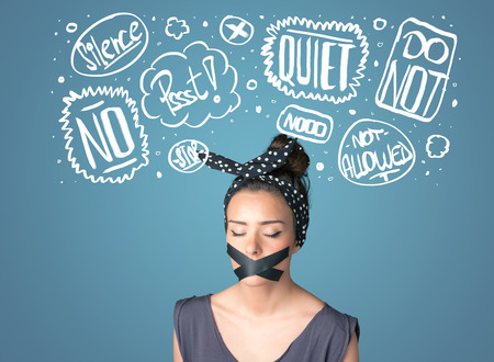 sellotape: Young woman with taped mouth and white drawn thought clouds around her head