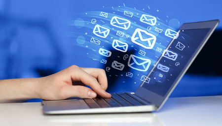 mail: Concept of sending e-mails from your computer Stock Photo