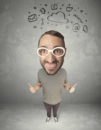 exaggeration: Funny guy with big head and drawn social media marks over it Stock Photo