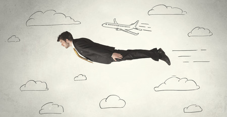 skydive: Cheerful business person flying between hand drawn sky clouds concept on background