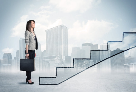 ascend: Business person in front of a staircase, city on the background