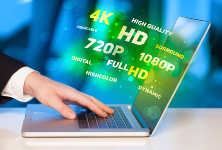 fullhd: Man choosing display resolution concept Stock Photo