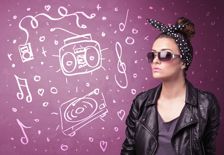 friends having fun: Happy funny woman with shades and hand drawn media icons concept on background