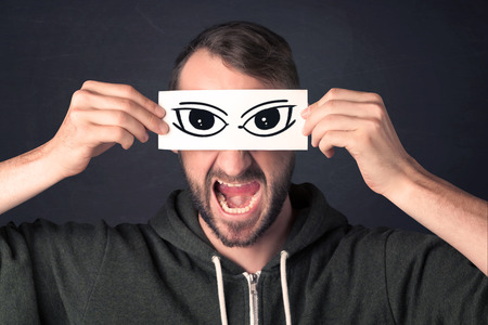 censored: Funny guy with censored sign paper concept Stock Photo
