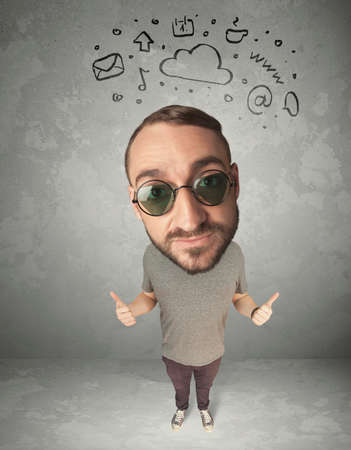 merriment: Funny guy with big head and drawn social media marks over it Stock Photo