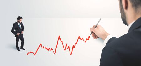 person looking: Business person looking at line drawn by hand concept on background Stock Photo