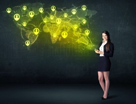young add: Businesswoman in office with tablet and social network world map concept on background Stock Photo