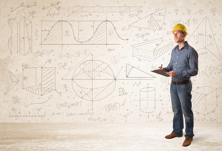 engineering plans: Handsome engineer calculating with hand drawn background concept