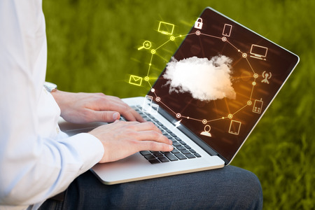 evolution: Hand working with a Cloud Computing diagram, new technology concept