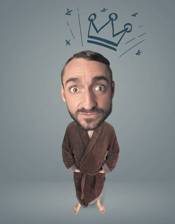big head: Funny guy with big head and drawn crown over it