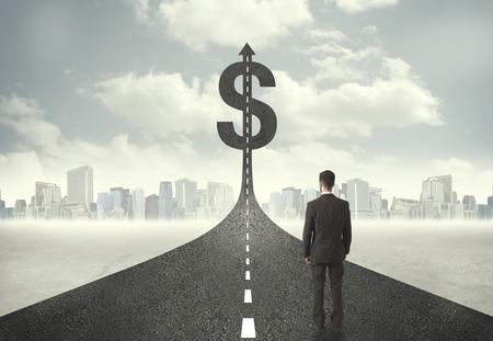 Üzletember út felé a dollár jel fogalma