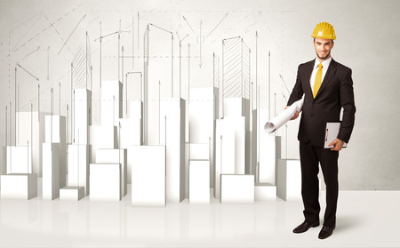 planing: Construction worker planing with 3d buildings in background concept