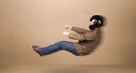 man flying: Happy funny man driving a flying car concept on background Stock Photo