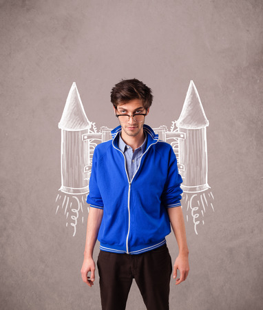 jetpack: Cute young man with jet pack rocket drawing illustration